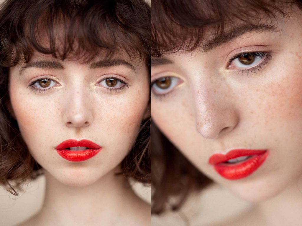 Girl with wavy brown hair, freckles and orange lipstick