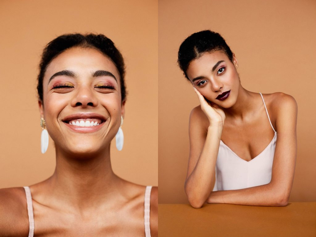Model with orange and pink colored eyeshadow, neutral lipstick in one image, dark lipstick in the other